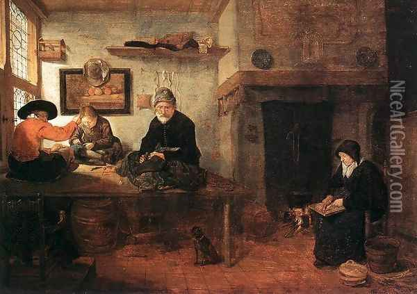 Interior of a Tailor's Shop 1653 Oil Painting - Quiringh Gerritsz. van Brekelenkam