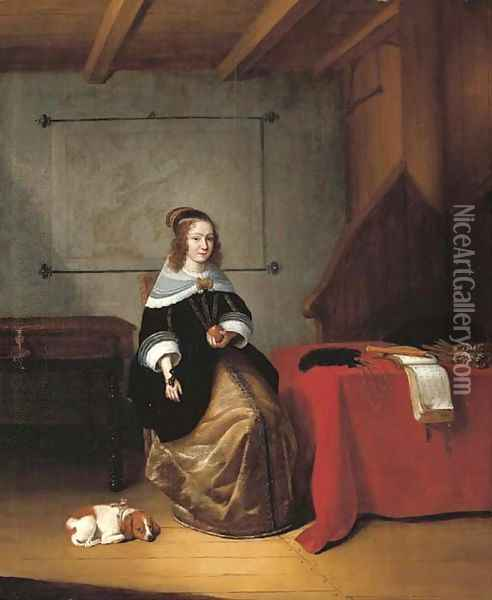 An interior with a woman seated holding an orange by a draped table, a dog at her side, a map of Europe and a spinet behind Oil Painting - Quiringh Gerritsz. van Brekelenkam