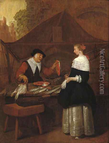 A fishmonger selling her wares to an elegant lady at a stall Oil Painting - Quiringh Gerritsz. van Brekelenkam