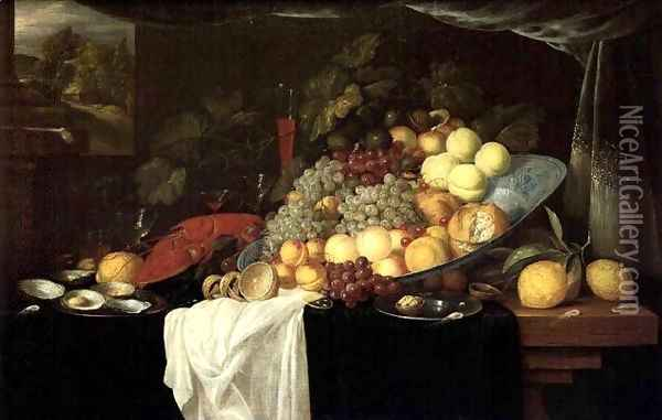 Elaborate Still life of fruit with a lobster and oysters, a landscape beyond Oil Painting - Andries Benedetti