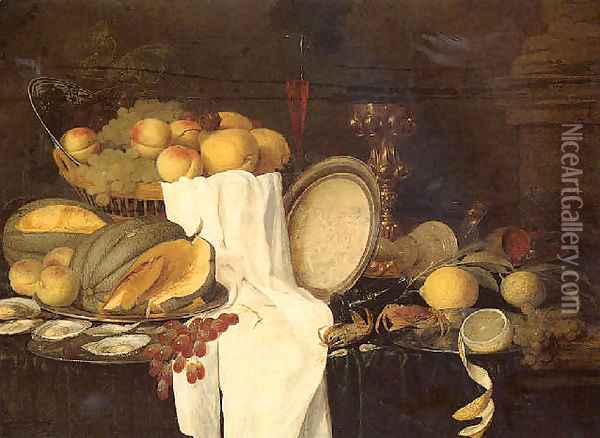 Still life of melons, grapes, oysters, crab and lemons on pewter plates, with a basket of fruit, wineglasses and a gilt cup Oil Painting - Andries Benedetti