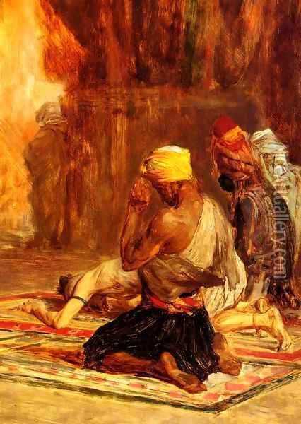 Priere dans La Mosquee (Prayer in a Mosque) Oil Painting - Charles Bargue