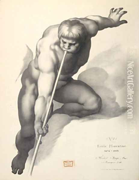 Angel Blowing a Trumpet, after Michelangelo Lithograph for Cours de dessin Oil Painting - Charles Bargue