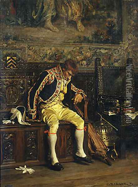 A Footman Sleeping 1871 Oil Painting - Charles Bargue