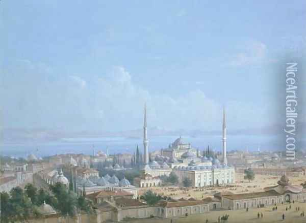 The Sultan Beyazit II Mosque Complex with a View of the Golden Horn beyond, Constantinople Oil Painting - Carlo Bossoli