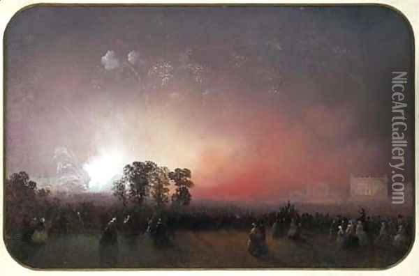 Fireworks over Bridgewater House on the occasion of the Peace Celebrations after the Crimean War, May 1856 Oil Painting - Carlo Bossoli