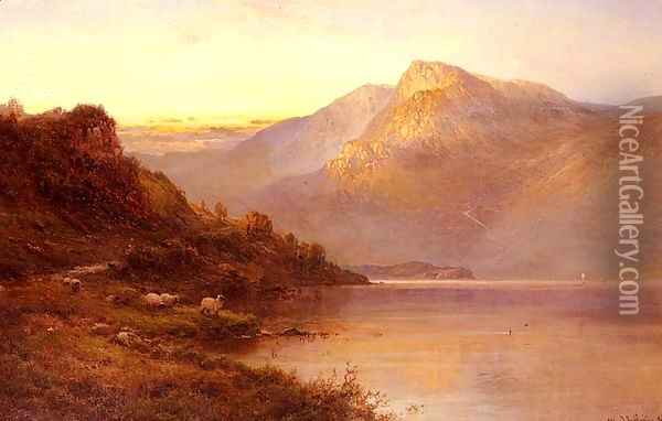 Sunset On The Loch Oil Painting - Alfred de Breanski