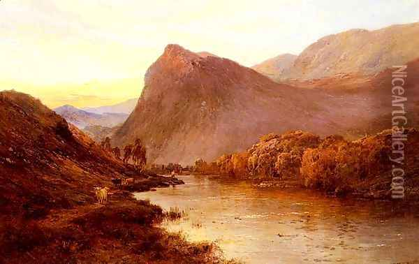 Sunset In The Glen Oil Painting - Alfred de Breanski
