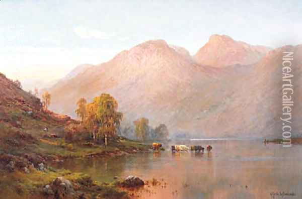 Loch Awe at Sunset Oil Painting - Alfred de Breanski
