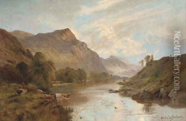 The Dee at Ballater, early morning Oil Painting - Alfred de Breanski