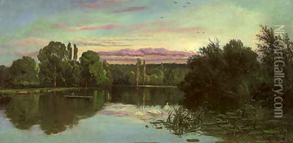 Temple Reach, Hurley Oil Painting - Alfred de Breanski
