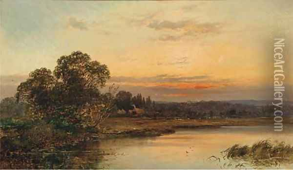 An autumnal sunset on the Thames at Hurley Oil Painting - Alfred de Breanski