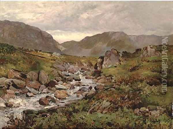 Capel Curig, North Wales Oil Painting - Alfred de Breanski