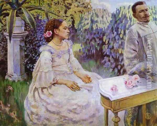 Self Portrait of the Artist with his Sister, Elena Borisova-Musatova, 1898 Oil Painting - Viktor Elpidiforovich Borisov-Musatov
