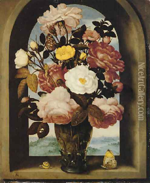 A still life of roses in a berkemeijer glass, with butterflies and a snail, in an arched stone window with a landscape beyond Oil Painting - Ambrosius the Elder Bosschaert
