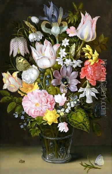 Still life of a bouquet of flowers including variegated tulips, bluebells, forget-me-nots and lily-of-the-valley (2) Oil Painting - Ambrosius the Elder Bosschaert
