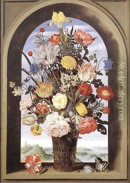 Bouquet in an Arched Window 1620 Oil Painting - Ambrosius the Elder Bosschaert