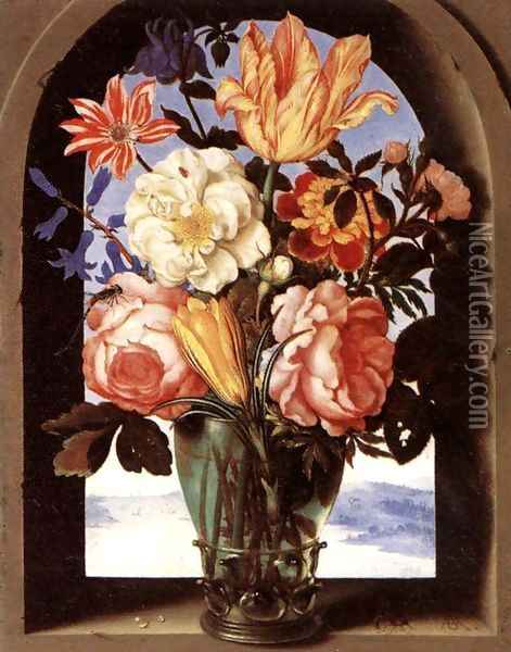 Bouquet of Flowers c. 1620 Oil Painting - Ambrosius the Elder Bosschaert