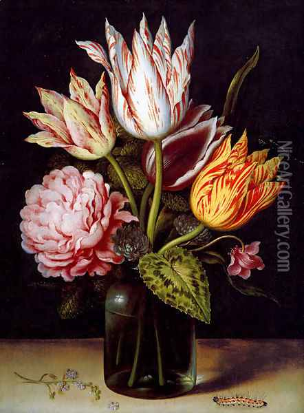 A Still Life With A Bouquet Of Tulips, A Rose, Clover And A Cylclamen In A Green Glass Bottle Oil Painting - Ambrosius the Elder Bosschaert