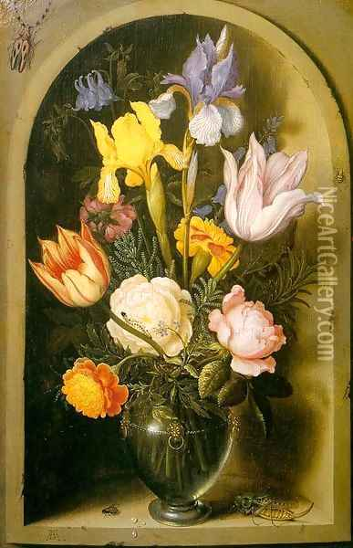 Flowers in a Glass Vase, approx. 1619 Oil Painting - Ambrosius the Elder Bosschaert