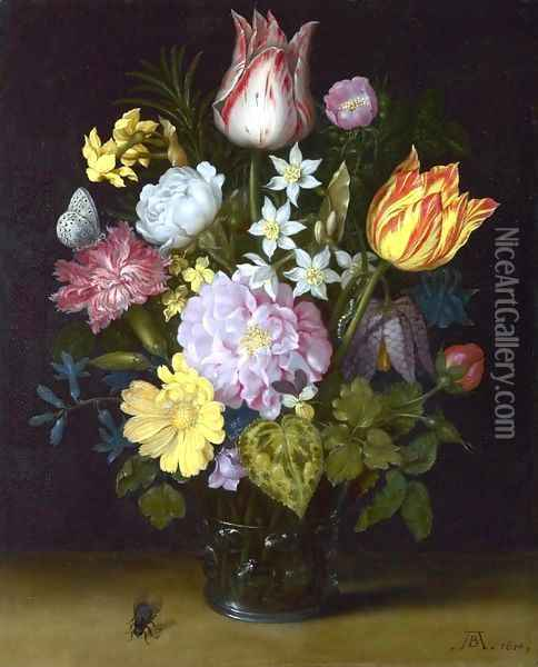 Flowers in a Vase Oil Painting - Ambrosius the Elder Bosschaert