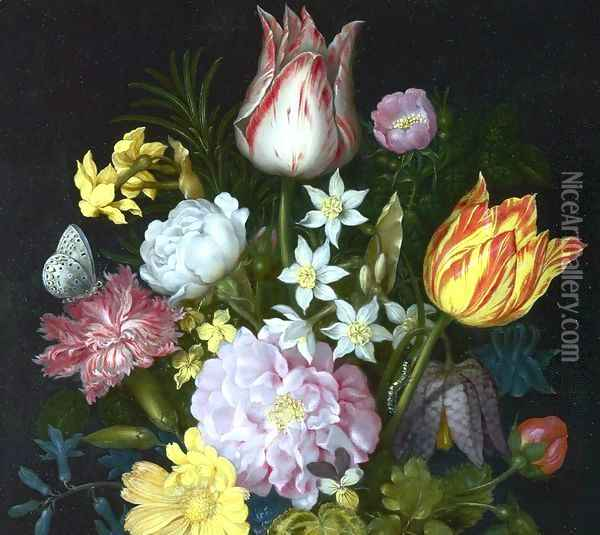 Flowers in a Vase [detail #1] Oil Painting - Ambrosius the Elder Bosschaert