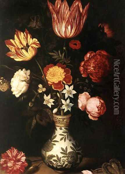 Still-Life with Flowers in a Wan-Li vase Oil Painting - Ambrosius the Elder Bosschaert