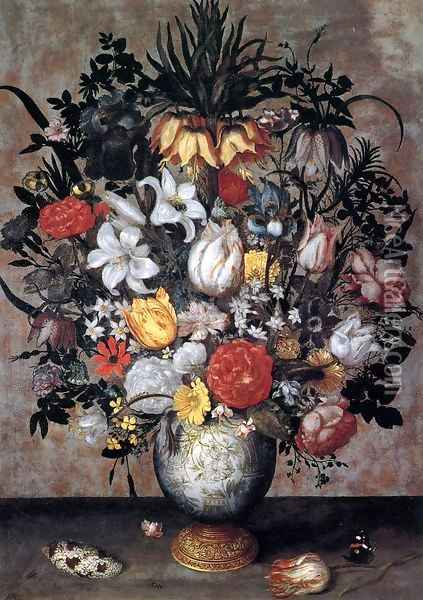Flowers in a Chinese Vase Oil Painting - Ambrosius the Elder Bosschaert