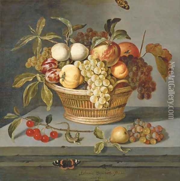 Grapes with a pear, an apricot, apples and plums in a wicker basket with a sprig of cherries, a lizard and a Red Admiral butterfly on a stone ledge Oil Painting - Ambrosius the Elder Bosschaert