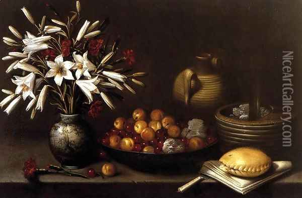 Still-Life with Flowers and Fruit 1643 Oil Painting - Francisco Barrera