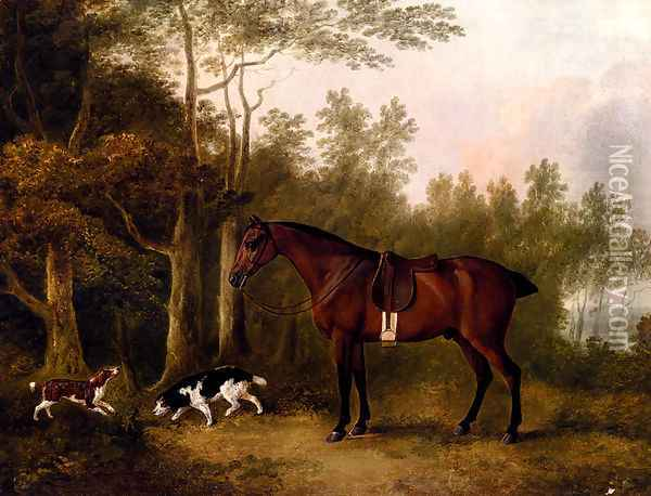 A Bay Hunter And Two Spaniels In A Landscape Oil Painting - John Boultbee