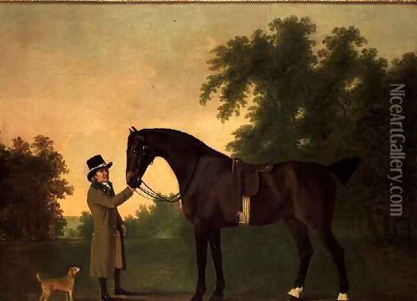 Portrait of Edward Wilmot Esq with Bay Hunter and Terrier in Stubton Park Oil Painting - John Boultbee