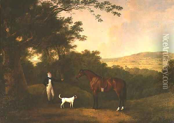Portrait of a Boy, a Terrier and a Chestnut Pony Oil Painting - John Boultbee