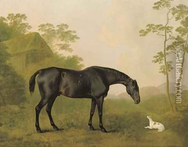 A black hunter and a dog in a landscape Oil Painting - John Boultbee