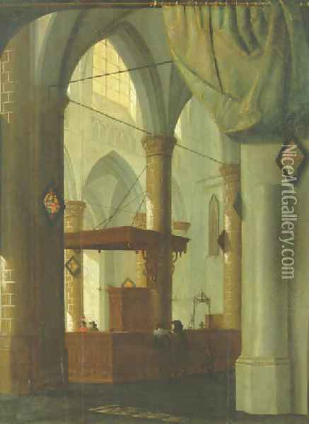 The interior of a Gothic church with an elegant couple 1654 Oil Painting - Daniel de Blieck