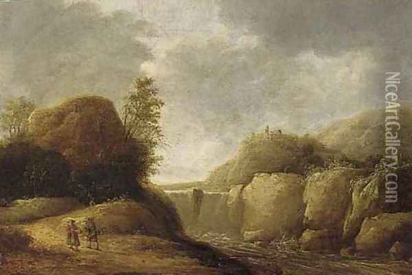 A mountainous landscape with travellers on a path by a waterfall Oil Painting - Gerrit Van Battem