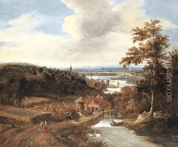 A wooded river landscape with harvesters and travellers on a bridge, a town beyond Oil Painting - Gerrit Van Battem
