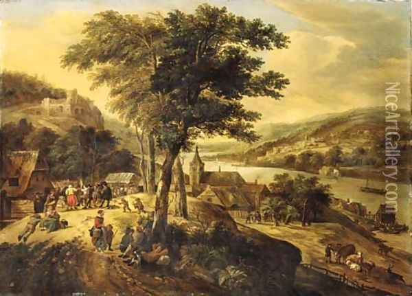 Travellers resting by a tree with peasants dancing to the music of a violinist, cowherds nearby, in a Rhenish landscape Oil Painting - Gerrit Van Battem
