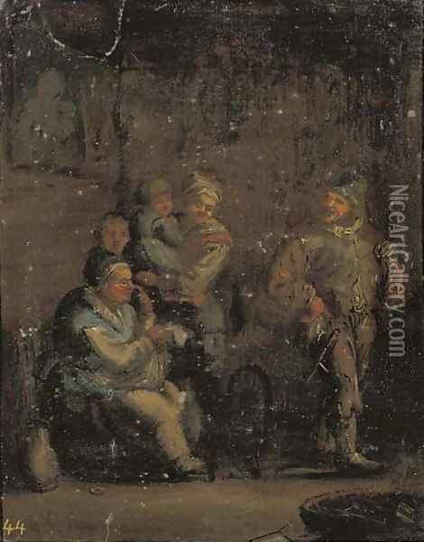An interior with a family by a spinning wheel Oil Painting - Andries Both