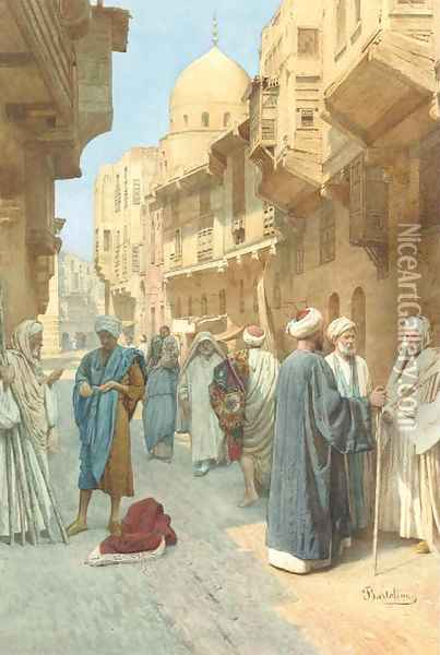 Figures conversing on a street in Cairo Oil Painting - Filipo or Frederico Bartolini