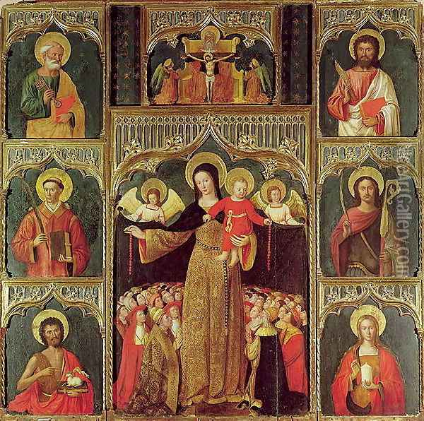 Altarpiece of the Virgin of the Rosary, c.1500 Oil Painting - Ludovico Brea