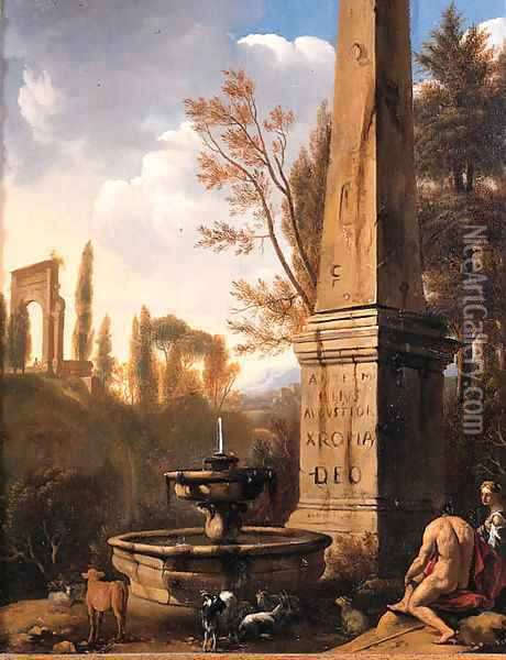 Shepherds resting by a fountain and an obelisk in an Arcadian landscape Oil Painting - Jan Gerritsz van Bronchorst