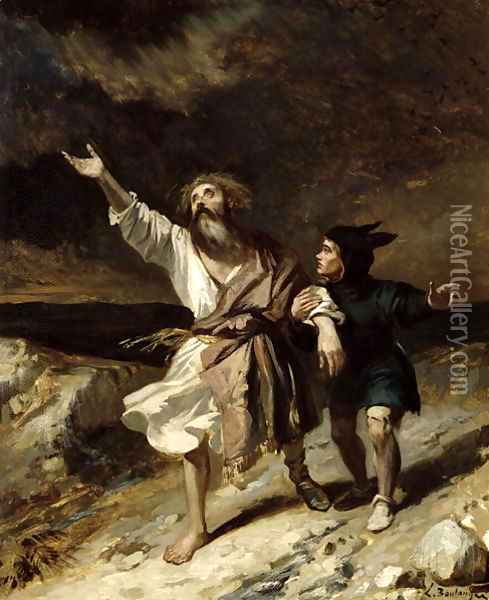 King Lear and the Fool in the Storm, Act III Scene 2 from 'King Lear' 1836 Oil Painting - Louis Boulanger