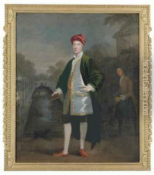 Portrait Of A Gentleman,  Probably Richard Boyle, 3rd Earl Ofburlington And 4th Earl Of Cork  (1694-1753), Full-length, With Hisgardener, James Scott, Before A  Rectangular Pond In A Garden,probably Chiswick Oil Painting - William Aikman
