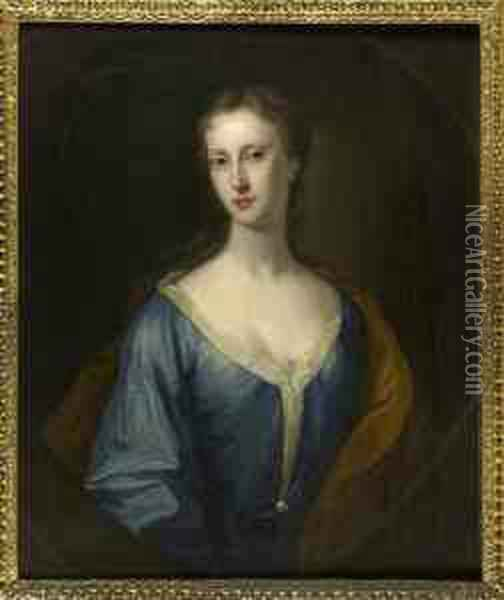 Half Length Portrait Of A Young Woman In A Blue Dress Oil Painting - William Aikman
