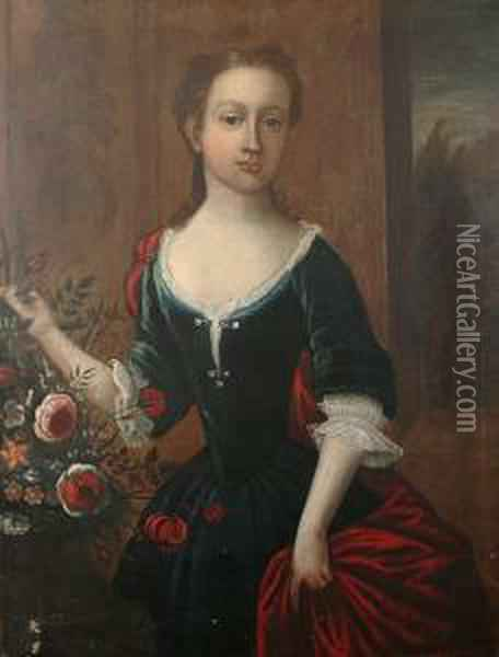 Portrait Of A Young Girl,  Three-quarter-length, In A Blue Dress With A Red Wrap, Standing Beside A  Vase Of Flowers, A View To A Landscape Beyond Oil Painting - William Aikman