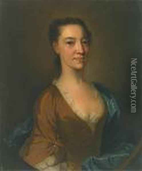 A Portrait Of Catherine Dacre, Half-length, Wearing A Brown Dress With A Blue Wrap Oil Painting - William Aikman