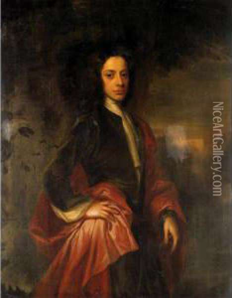 Portrait Of Charles, 9th Lord Elphinstone (1676-1738) Oil Painting - William Aikman