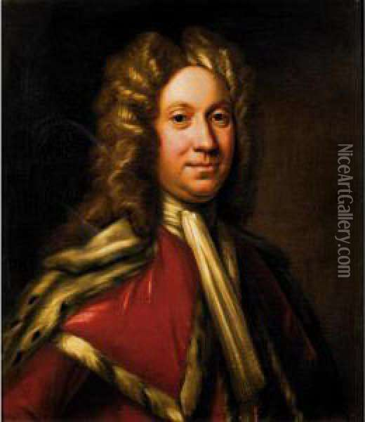 Portrait Of The Rt Hon Charles, 9 Th Lord Elphinstone Oil Painting - William Aikman