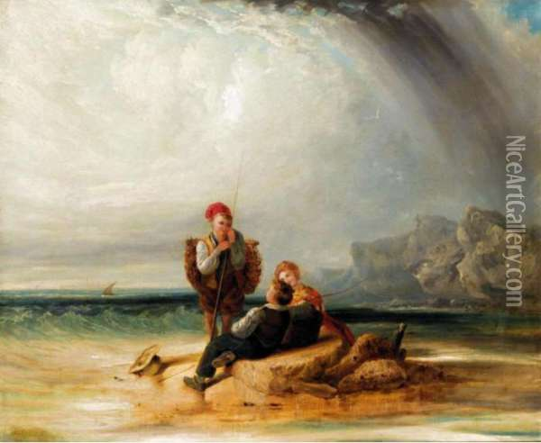 A Beach Scene With Children Oil Painting - William Aikman